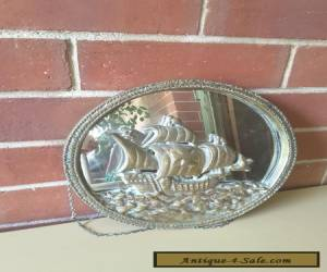 VINTAGE Solid Brass NAUTICAL WALL MIRROR SAILING SHIP CLIPPER for Sale