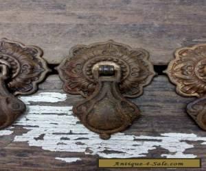 ONE Vtg Antique Fancy Ornate RUSTIC Metal Pendant Pull Handle Drawer Cabinet for Sale