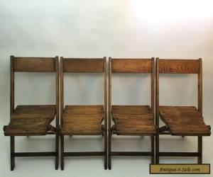 Vintage Antique Snyder Wood Oak Wooden Folding Chairs Set of 4 for Sale