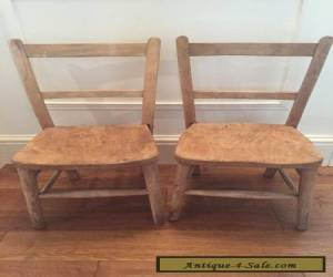 Pair Of Oak/ Pine Wooden Vintage Antique Childrens Ladder Back School Chairs for Sale