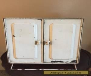 Vintage antique shabby Distressed Metal Medicine Bathroom Cabinet Shelves 2 door for Sale