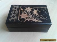 Vintage Wooden Box with Hand Carved Design.