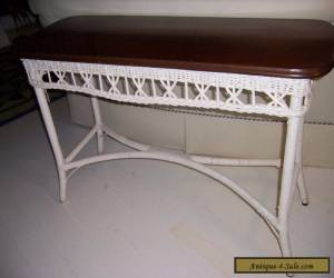 RARE BAR HARBOR WICKER W/ SOLID WOOD TOP TABLE  for Sale