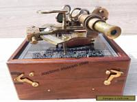 Antique Brass Nautical Sextant with wooden Box..