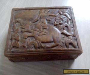 vintage wooden box with raised carved picture for Sale