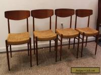 Set of 4 Mid-Century Danish Modern Rope Teak Dining Chairs