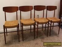 Set of 4 Mid-Century Danish Modern Rope Teak Dining Chairs