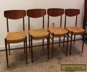 Set of 4 Mid-Century Danish Modern Rope Teak Dining Chairs for Sale
