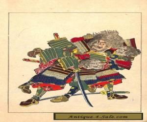 Utagawa Kuniyoshi Taikoki Eiyuden Samurai No. 29 Japanese Woodblock Print for Sale