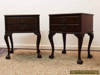 Vintage Pair of Mahogany Chippendale Ball & Claw Foot 1-Drawer Nightstands