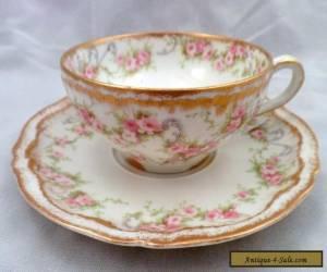 Theodore Haviland Limoges Schleiger 340 Cup and Saucer, Antique Porcelain, Set 4 for Sale