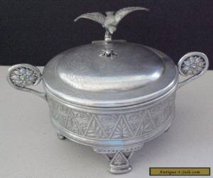 Antique Meriden Company Silver Plate Jewelry Casket Box ~Bird Handle & Bee Lid for Sale