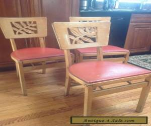 (3) Vintage Stakmore Mid-Century Modern  Wooden Folding Chairs   for Sale