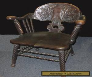 Beautiful BARLEY TWIST Vintage Spanish Style Ornately Carved Wood ACCENT CHAIR for Sale