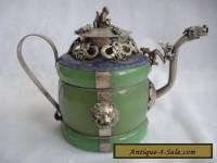 Chinese handwork green jade bracelet inlay tibet-silver drago teapot