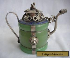 Chinese handwork green jade bracelet inlay tibet-silver drago teapot  for Sale