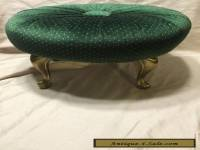 VINTAGE FOOTSTOOL - QUEEN ANN BRASS LEGS - RE-UPHOLSTERED