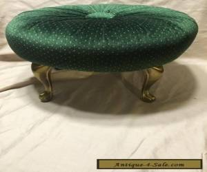 VINTAGE FOOTSTOOL - QUEEN ANN BRASS LEGS - RE-UPHOLSTERED for Sale