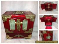 BEAUTIFUL RARE ANTIQUE CHINESE WOOD & BRASS AND JADE JEWELLERY BOX / CHEST