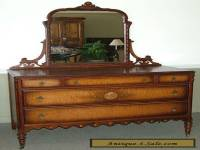 c1046: Antique Dresser Chest w Mirror Gorgeous Burled Wood Excellent Piece!
