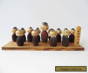 Japanese Kokeshi Doll School Class Group - Vintage for Sale