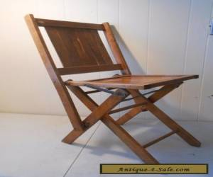 Antique Simmons Co.?  Wooden Folding Chairs Vintage Wood Slat Seat  for Sale