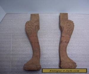 PAIR OF VINTAGE QUEEN ANNE BALL & CLAW FEET, ORNATE CARVED LEGS, FURNITURE PARTS for Sale