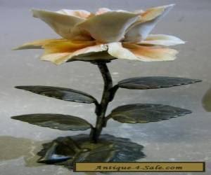 Vintage antique handmade metal and pottery flower for Sale