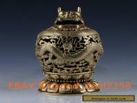 China Brass Handwork carved Dragon Hollow Statue Incense Burner w Xuande Mark