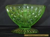 VINTAGE GREEN DEPRESSION GLASS VASE WITH PIQUE FLEURS