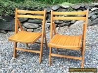 2 Vintage Mid Century Wood Slat Folding Chairs Seat Fold Oak Set Antique