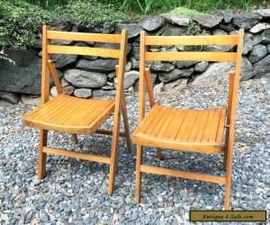 2 Vintage Mid Century Wood Slat Folding Chairs Seat Fold Oak Set Antique for Sale