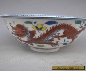 Chinese Colorful porcelain Hand Painted Dragon Bowl for Sale