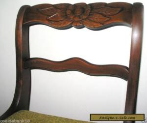 Antique Wood Mahogany Duncan Phyfe Style Carved Rose Dining Room Chair for Sale