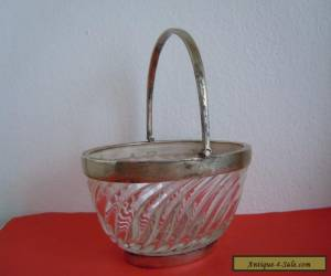 RARE Antique Art Nouveau Crystal Sugar BOWL in Silver, made in UK 19th century for Sale