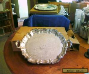 Leonard Silver Silverplate Oval Footed Serving Buffet Tray with Handles  for Sale