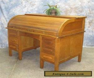 4' Oak Rolltop Office Desk Vintage Table Arts Crafts Danish Modern Mid Century a for Sale