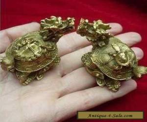 Traditional double carved exquisite old copper dragon turtle statue for Sale