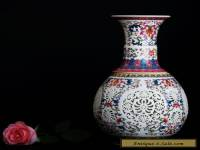 amille Rose Porcelain Hollow Hand-painted Vase w Qianlong Mark
