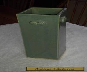 Vintage Large  Chinese Celadon  Green Studio Cabinet Vase Artist Signed  for Sale