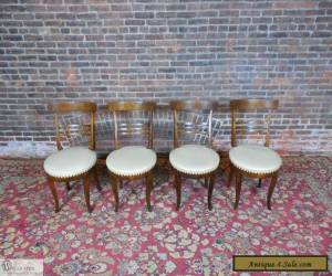 Unique Walnut Mission Arts & Crafts Modern Style Fusion Set of 4 Side Chairs for Sale