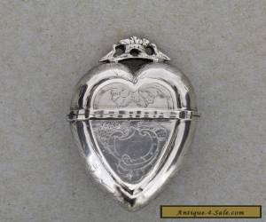 Antique Norwegian Silver Vinaigrette Heart Box Hovedvansaeg Luktevannshus - SL for Sale