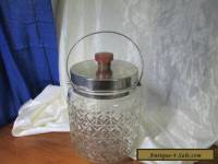 SILVERPLATE AND PRESSED GLASS BISCUIT BARREL WITH BAKELITE HANDLE