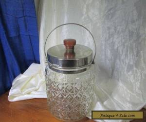 SILVERPLATE AND PRESSED GLASS BISCUIT BARREL WITH BAKELITE HANDLE for Sale