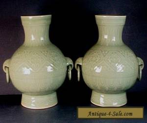 PAIR VINTAGE CHINESE LONGQUAN CELADON PORCELAIN VASES with LOOSE RING HANDLES for Sale