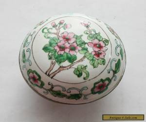 Vintage Antique Chinese Famille Rose Cloisonne Enameled Round Metal Box  for Sale