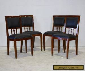Set of 4 traditional mahogany dining chairs with genuine leather upholstery  for Sale