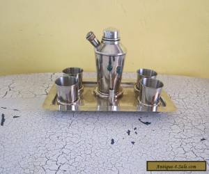 Vintage Original Art Deco English Silverplate Cocktail Shaker & Tumbler Bar Set for Sale