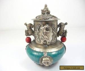 Chinese Vintage Collection Handmade Silver Dragon Jade Incense Burner NR for Sale