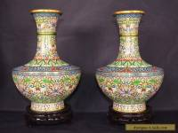 LOVELY PAIR OF LARGE VINTAGE CHINESE CLOISONNE VASES ON WOODEN STANDS